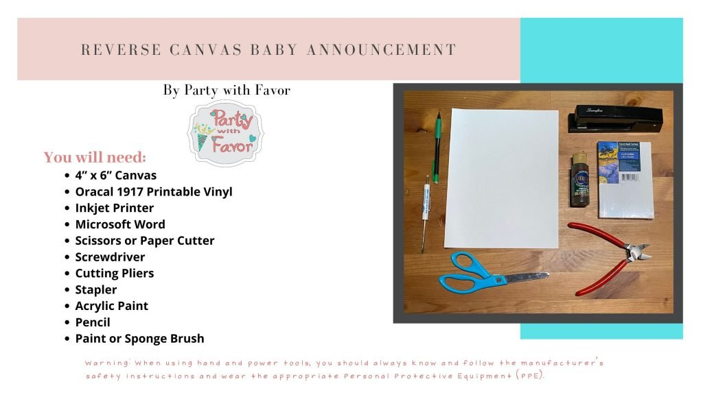 Reverse Canvas Baby Announcement (Ingredients)