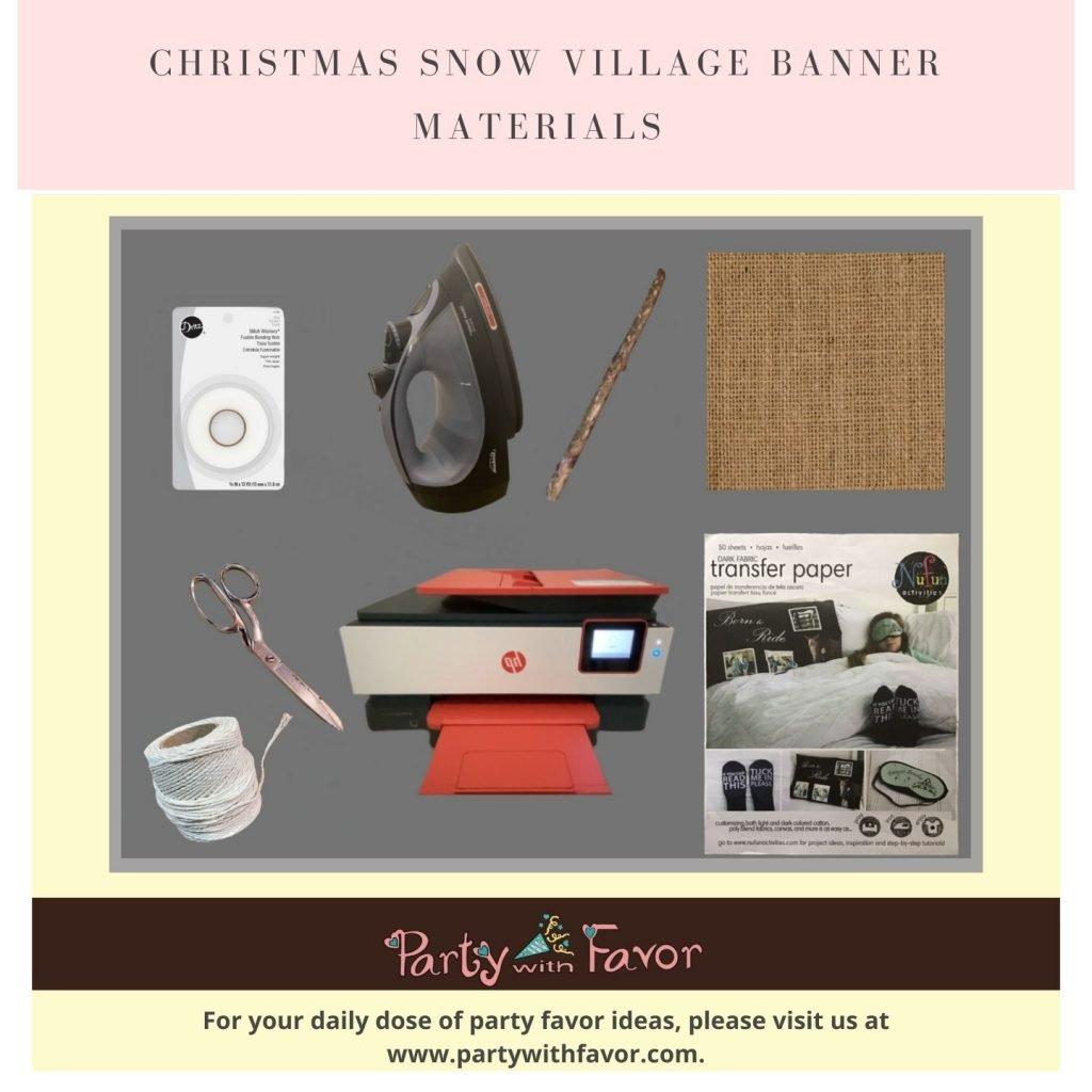 Stunning Christmas Snow Village Banner Materials